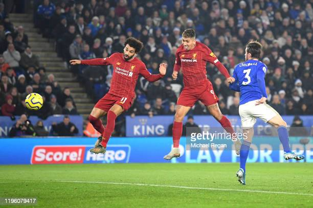 Roberto Firmino of Liverpool scores his team's first goal during the Premier League match between Leicester City and Liverpool FC at The King Power...