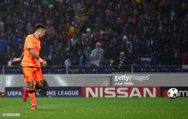 Roberto Firmino of Liverpool scores the fourth goal during the UEFA Champions League Round of 16 First Leg match between FC Porto and Liverpool at...