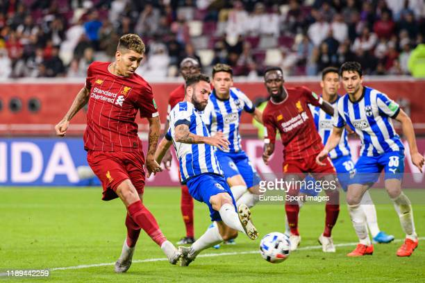 Roberto Firmino of Liverpool scores the second goal of his team during FIFA Club World Cup SemiFinal match between Monterrey and Liverpool FC at...
