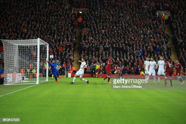 Roberto Firmino of Liverpool scores their 5th goal during the UEFA Champions League Semi Final First Leg match between Liverpool and AS Roma at...