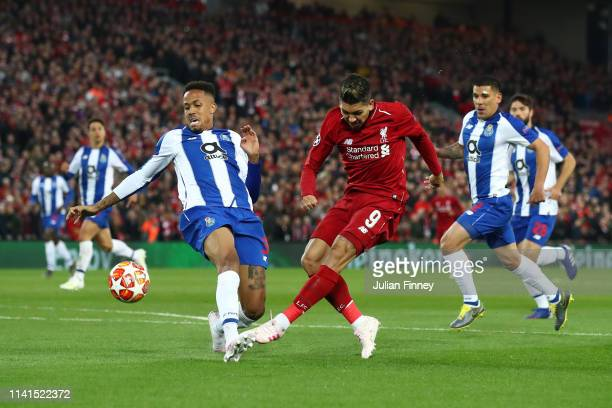 Roberto Firmino of Liverpool shoots during the UEFA Champions League Quarter Final first leg match between Liverpool and Porto at Anfield on April 09...