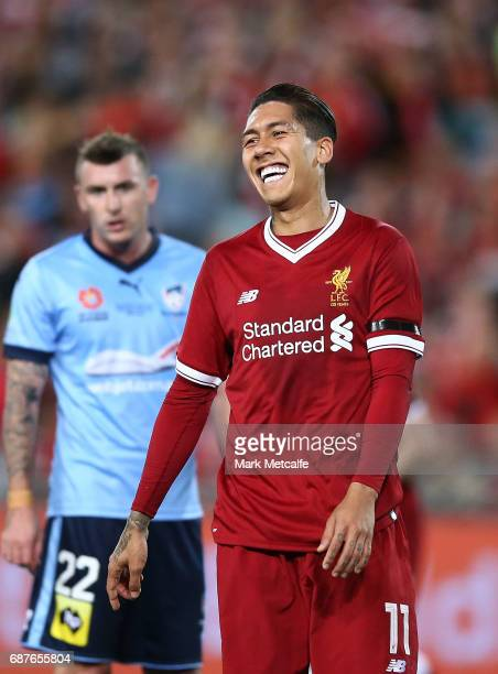 Roberto Firmino of Liverpool smiles during the International Friendly match between Sydney FC and Liverpool FC at ANZ Stadium on May 24 2017 in...