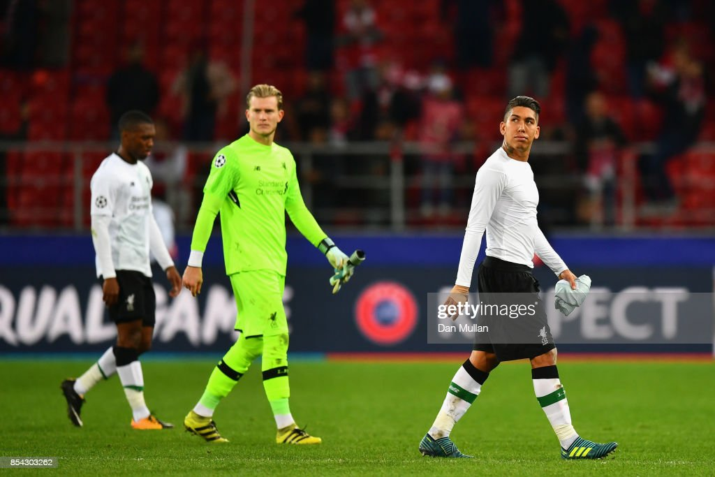 Roberto Firmino of Liverpool walk off the pitch dejected after the UEFA Champions League group E match between Spartak Moskva and Liverpool FC at Otkrytije Arena on September 26, 2017 in Moscow, Russia.