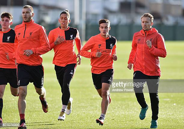 Roberto Firmino Philippe Coutinho and Lucas Leiva of Liverpool during a training session at Melwood Training Ground on November 4 2016 in Liverpool...