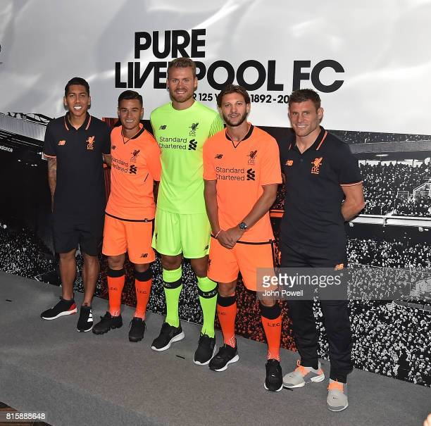 Roberto Firmino Philippe Coutinho Simon Mignolet Adam Lallana and James Milner of Liverpool at the Liverpool Football Clubs third kit launch at the...