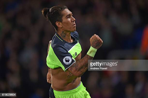 Roberto Firmino scores the winning goal and Celebrates for Liverpool during the Premier League match between Crystal Palace and Liverpool at Selhurst...