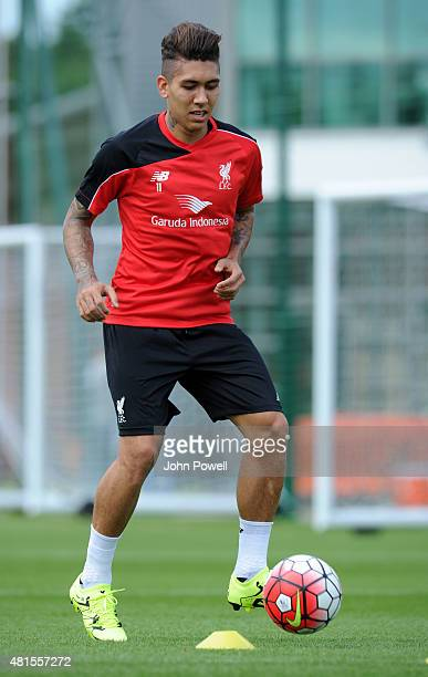 Roberto Firmino training on his first day at Liverpool FC at Melwood Training Ground on July 22 2015 in Liverpool England