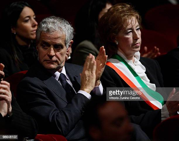 Roberto Formigoni and Letizia Moratti attend the celebrations of Italy's Liberation Day held at Teatro Alla Scala on April 24 2010 in Milan Italy The...