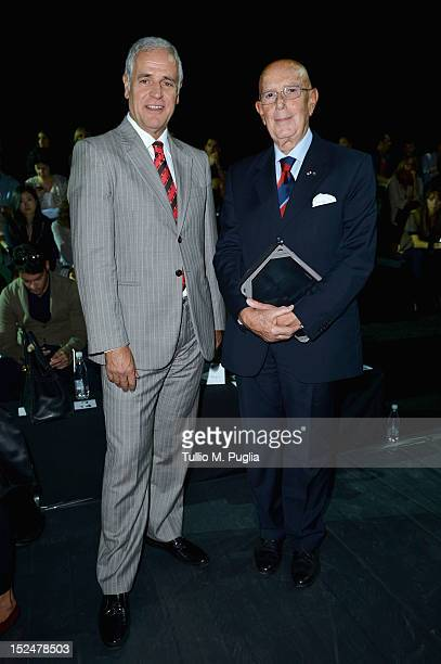 Roberto Formigoni and Mario Boselli attend the Iceberg Spring/Summer 2013 fashion show as part of Milan Womenswear Fashion Week on September 21 2012...