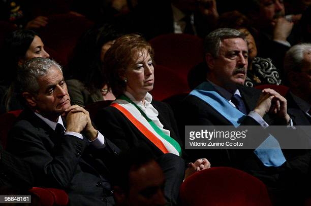 Roberto Formigoni Letizia Moratti and Guido Podesta attend the celebrations of Italy's Liberation Day held at Teatro Alla Scala on April 24 2010 in...