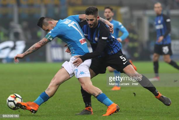 Roberto Gagliardin of FC Internazionale competes for the ball with Marek Hamsik of SSC Napoli during the serie A match between FC Internazionale and...