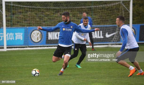 Roberto Gagliardini and Ivan Perisic of FC Internazionale in action during the FC Internazionale training session at Appiano Gentile on April 3 2018...