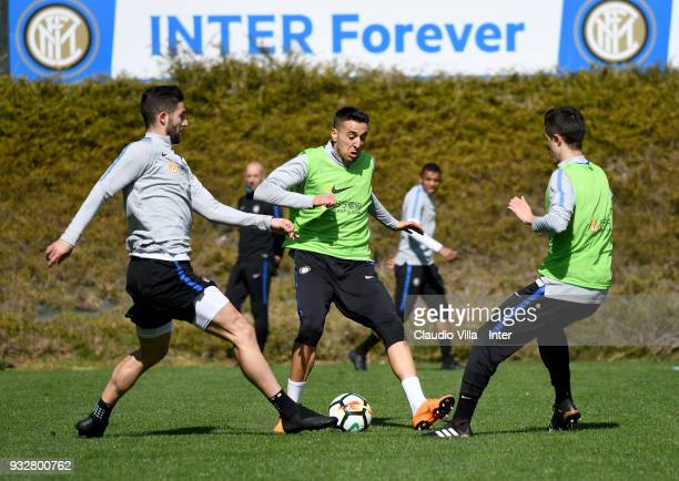 Roberto Gagliardini and Matias Vecino of FC Internazionale compete for the ball during the FC Internazionale training session at the club's training...