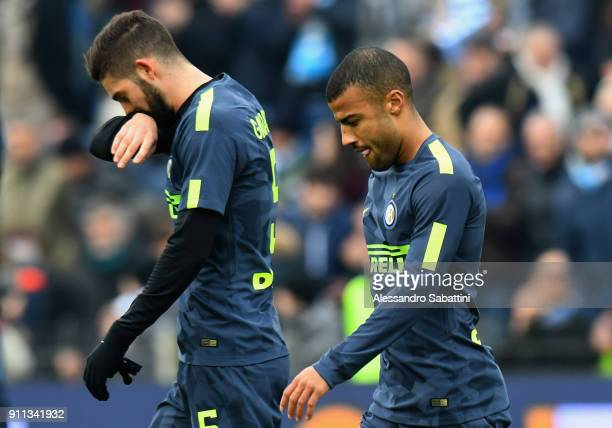 Roberto Gagliardini and Rafael Alcântara do Nascimento Rafinha of FC Internazionale reacts after the serie A match between Spal and FC Internazionale...