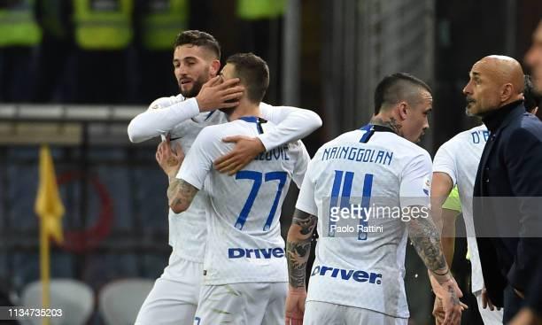 Roberto Gagliardini of FC Internazionale celebrates after scoring during the Serie A match between Genoa CFC and FC Internazionale at Stadio Luigi...