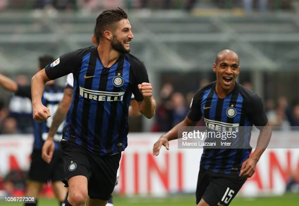 Roberto Gagliardini of FC Internazionale celebrates after scoring the opening goal during the Serie A match between FC Internazionale and Genoa CFC...