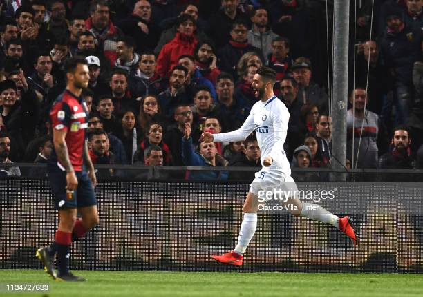 Roberto Gagliardini of FC Internazionale celebrates after scoring the opening goal during the Serie A match betweenGenoa CFC and FC Internazionale at...
