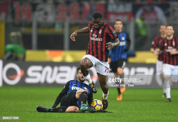 Roberto Gagliardini of FC Internazionale competes for the ball with Franck Kessie of AC Milan during the TIM Cup match between AC Milan and FC...