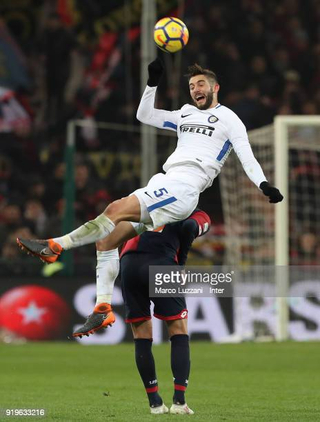 Roberto Gagliardini of FC Internazionale competes for the ball with Goran Pandev of Genoa CFC during the serie A match between Genoa CFC and FC...