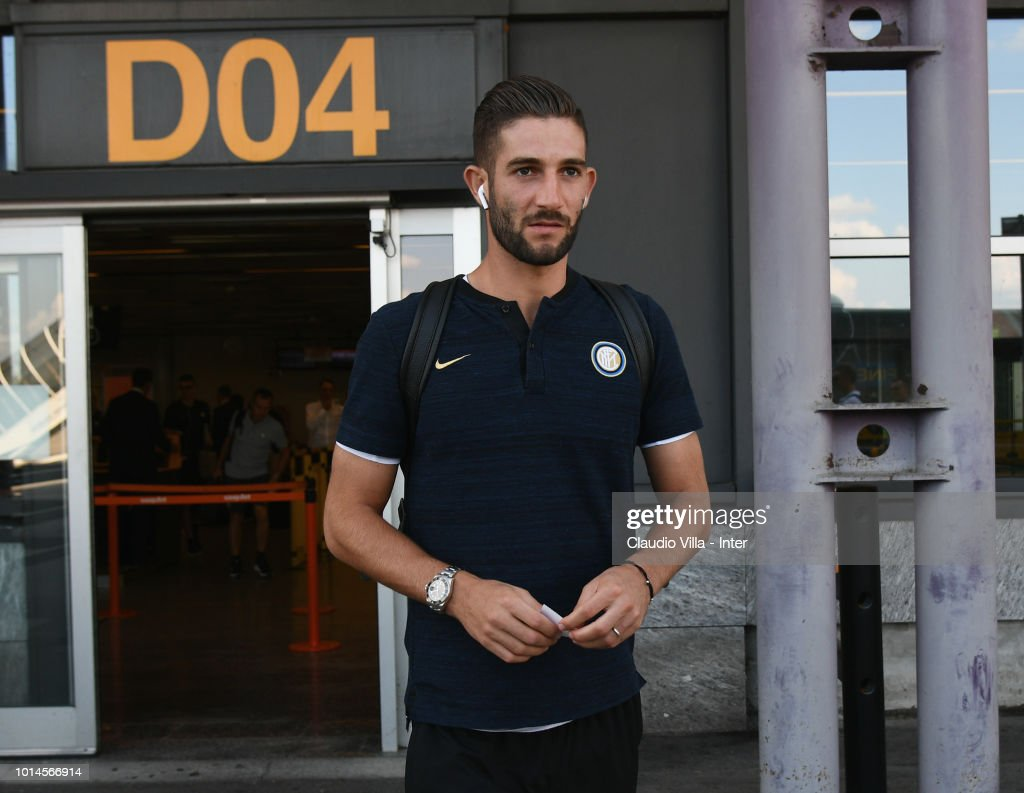 Roberto Gagliardini of FC Internazionale departs from Malpensa Airport on August 10, 2018 in Milan, Italy.