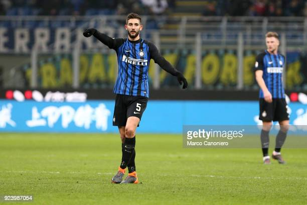 Roberto Gagliardini of FC Internazionale gestures during the Serie A match between FC Internazionale and Benevento Calcio Fc Internazionale wins 20...