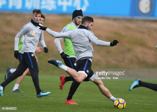 Roberto Gagliardini of FC Internazionale in action during a FC Internazionale training session at Suning Training Center at Appiano Gentile on...