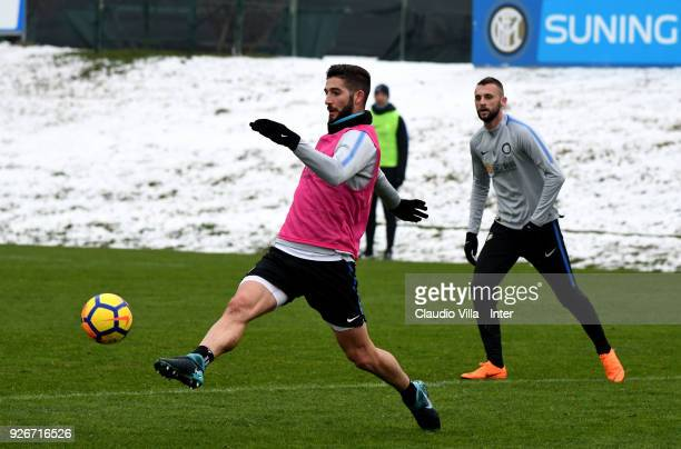 Roberto Gagliardini of FC Internazionale in action during the FC Internazionale training session at the club's training ground Suning Training Center...