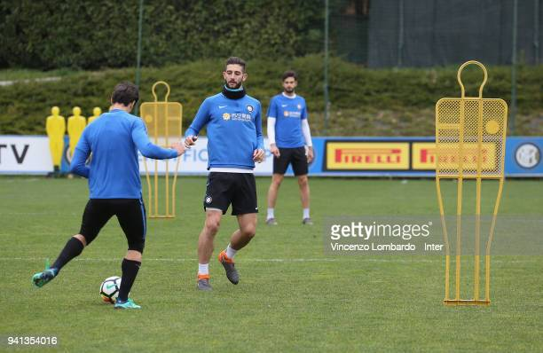 Roberto Gagliardini of FC Internazionale in action during the FC Internazionale training session at Appiano Gentile on April 3 2018 in Como Italy
