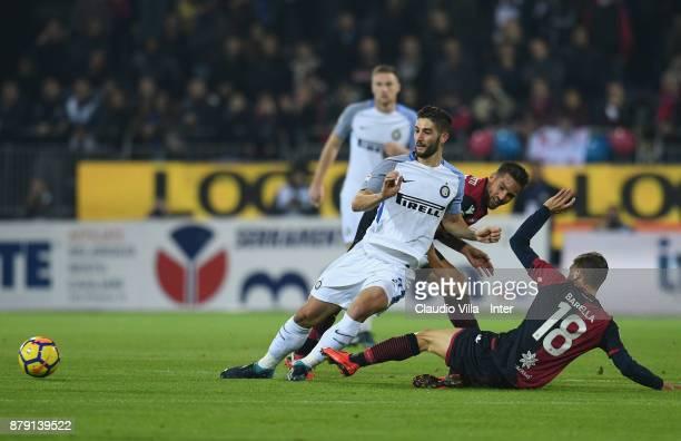 Roberto Gagliardini of FC Internazionale in action during the Serie A match between Cagliari Calcio and FC Internazionale at Stadio Sant'Elia on...