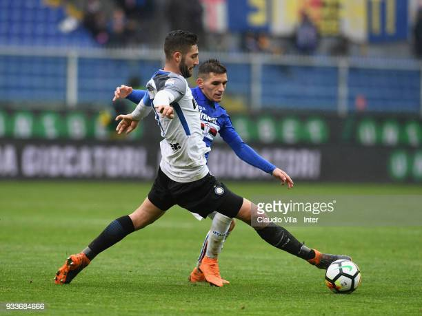 Roberto Gagliardini of FC Internazionale in action during the serie A match between UC Sampdoria and FC Internazionale at Stadio Luigi Ferraris on...