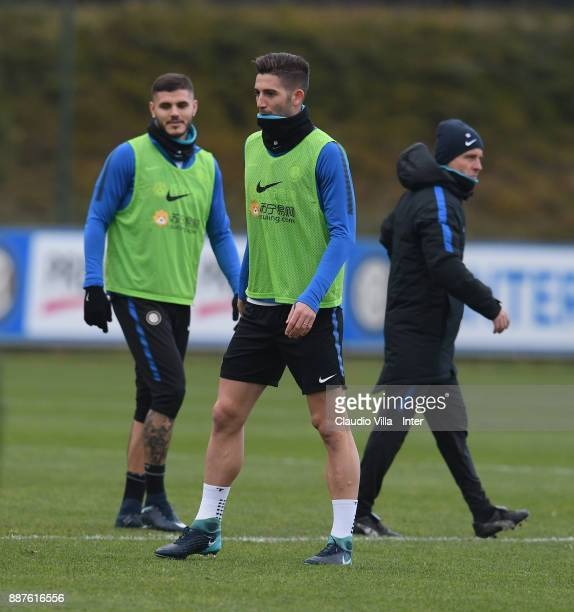 Roberto Gagliardini of FC Internazionale looks on during an FC Internazionale training session at Suning Training Center at Appiano Gentile on...