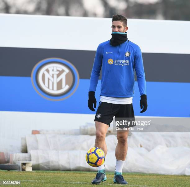 Roberto Gagliardini of FC Internazionale looks on during the FC Internazionale training session at Suning Training Center at Appiano Gentile on...