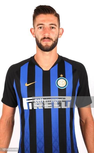 Roberto Gagliardini of FC Internazionale poses with the club shirt at the club's training ground Suning Training Center in memory of Angelo Moratti...