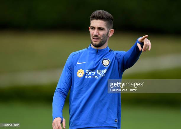 Roberto Gagliardini of FC Internazionale reacts during the FC Internazionale training session at the club's training ground Suning Training Center in...
