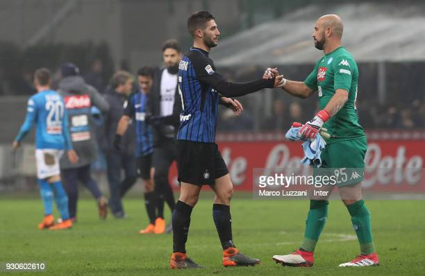 Roberto Gagliardini of FC Internazionale thanks Jose Manuel Reina of SSC Napoli after the serie A match between FC Internazionale and SSC Napoli at...
