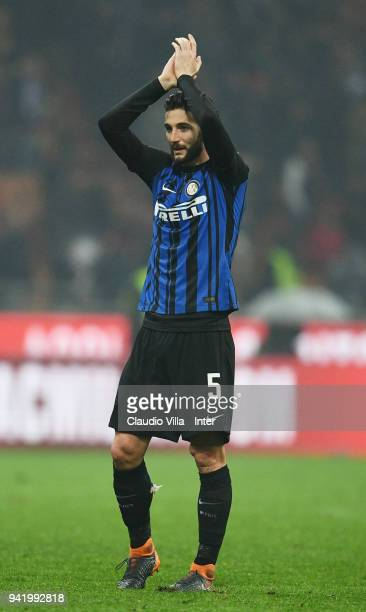 Roberto Gagliardini of FC Internazionale thanks the support at the end the serie A match between AC Milan and FC Internazionale at Stadio Giuseppe...