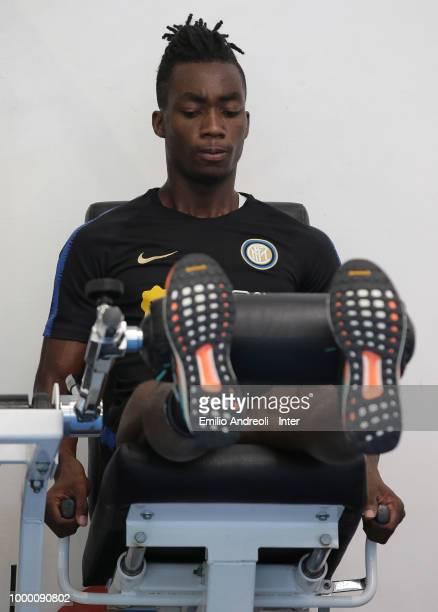 Roberto Gagliardini of FC Internazionale trains in the gym during a FC Internazionale training session at the club's training ground Suning Training...