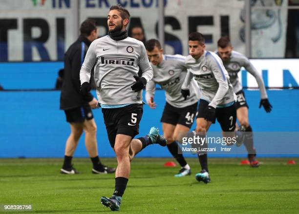 Roberto Gagliardini of FC Internazionale warms up ahead of the during the Serie A match between FC Internazionale and AS Roma at Stadio Giuseppe...