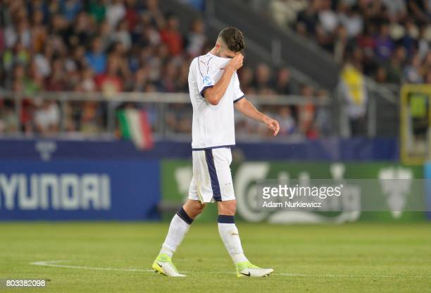 Roberto Gagliardini of Italy leaves the field after being sent off during the UEFA European Under21 Championship Semi Final match between Spain and...