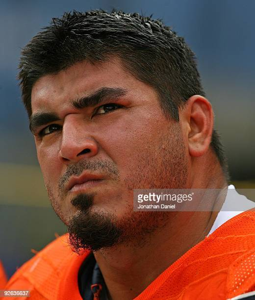 Roberto Garza of the Chicago Bears rests on the bench during a game against the Cleveland Browns at Soldier Field on November 1 2009 in Chicago...