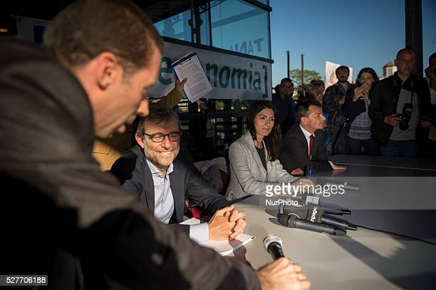 Roberto Giachetti Virginia Raggi and Stefano Fassina Rome mayoral candidates participated in a public debate in Rome Italy on May 3 2016