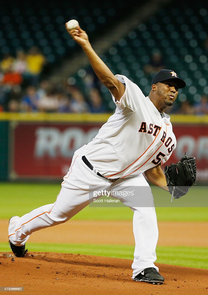 Roberto Hernandez #56 of the Houston Astros throws a pitch in the first inning of their game against the Toronto Blue Jays at Minute Maid Park on May 14, 2015 in Houston, Texas.