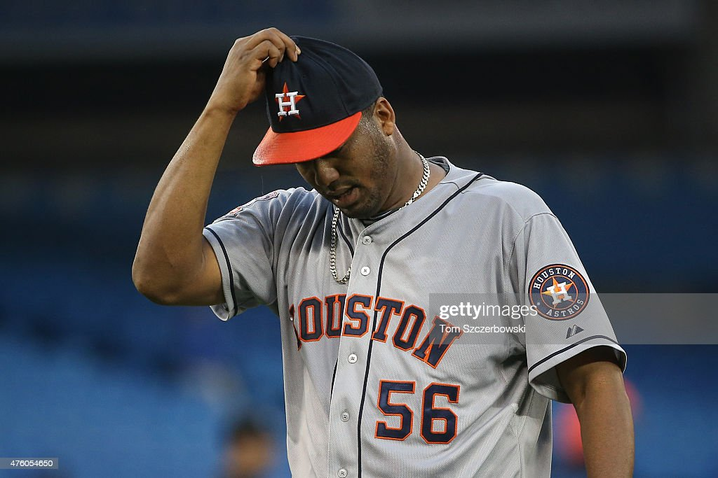 Roberto Hernandez #56 of the Houston Astros walks off the mound at the end of the third inning during MLB game action against the Toronto Blue Jays on June 5, 2015 at Rogers Centre in Toronto, Ontario, Canada.