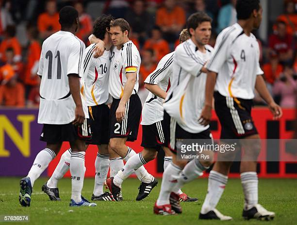 Roberto Hilbert is congratulated by his team mate Moritz Volz of Germany after scoring the 2nd goal during the Men's Under 21 international friendly...