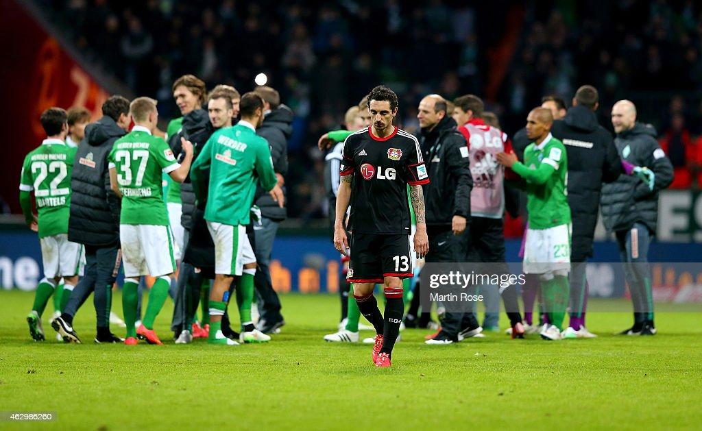 Roberto Hilbert of Leverkusen walks off dejected after the Bundesliga match between SV Werder Bremen and Bayer 04 Leverkusen at Weserstadion on February 8, 2015 in Bremen, Germany.