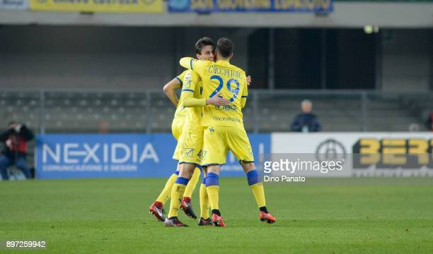 Roberto Inglese of AC Chievo Verona celebrates after scoring his teams first goal during the serie A match between AC Chievo Verona and Bologna FC at...