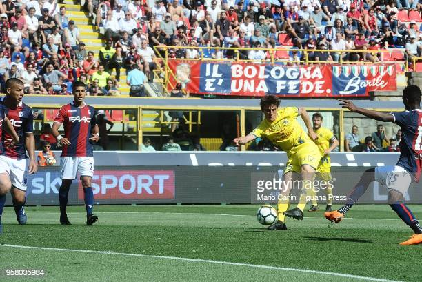 Roberto Inglese of AC Chievo Verona scores his team's second goal during the serie A match between Bologna FC and AC Chievo Verona at Stadio Renato...