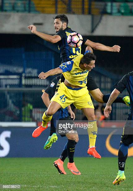 Roberto Inglese of AC ChievoVerona battles for an aerial ball with Andrea Ranocchia of FC Internazionale during the Serie A match between AC...