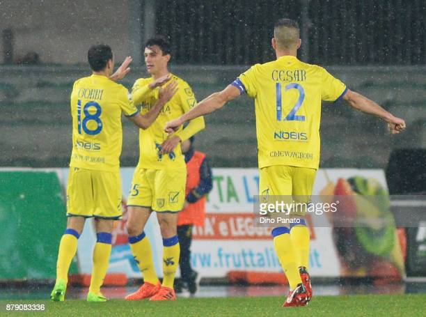 Roberto Inglese of Chievo Verona celebrates after scoring his teams first goal during the Serie A match between AC Chievo Verona and Spal at Stadio...