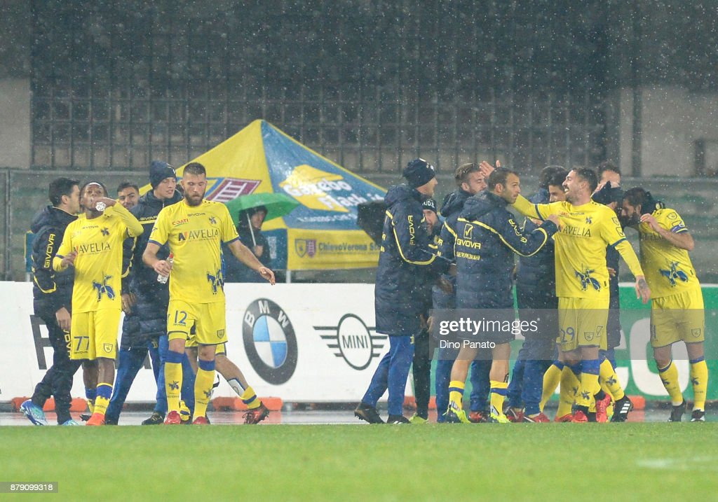 Roberto Inglese Of Chievo Verona Celenrates After Scoring His Teams
